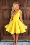 V Neck Off the Shoulder Yellow Satin Cheap Short Prom Gowns Homecoming Dress LD394
