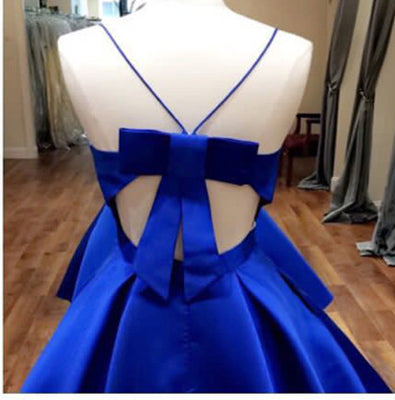 Open Back Spaghetti Straps Royal Blue Short Prom Homecoming Dresses Party Dress LD396