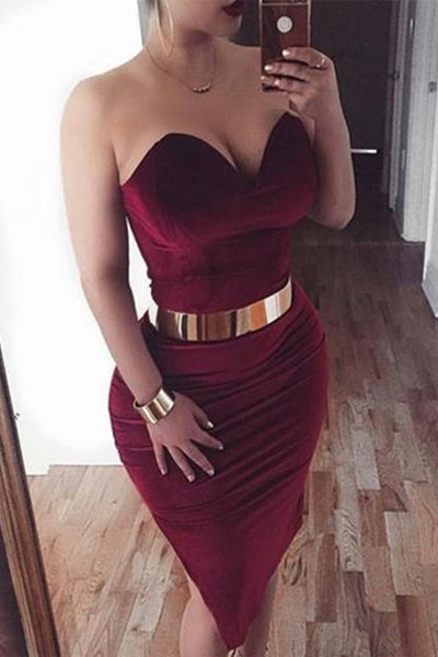 Sexy Burgundy Mermaid Short Prom Homecoming Dresses Party Dress With Gold Belt LD397