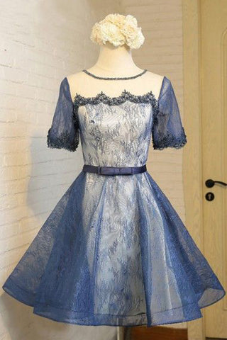 Short Sleeves Navy Blue Lace White Satin Prom Homecoming Dresses Party Dress LD399