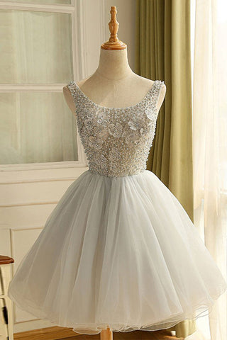Silver Lace Tulle Pearls Cute Dress Short Prom Homecoming Dresses Party Gowns LD400