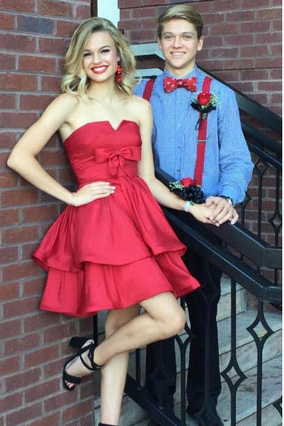 Cute Red Bow Tiered Short Homecoming Dress Prom Party Gowns Graduation Dresses LD402