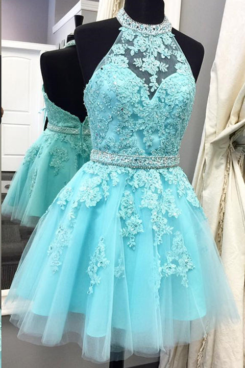 Ice Blue Lace Open Back High Neck Short Homecoming Dress Prom Party Dresses LD403