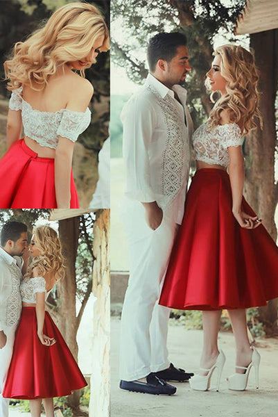 2 Pices White Lace Red Short Sleeves Tea Length Backless Prom Dress Homecoming Dresses LD405