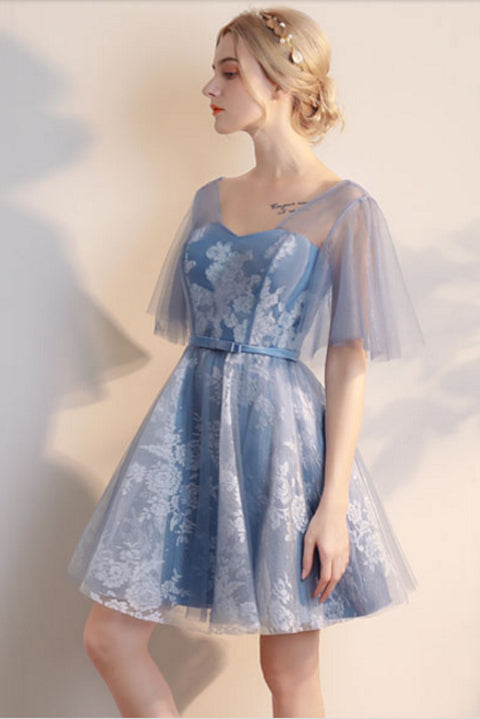 New Designer Blue Tulle White Lace Short Prom Dress Homecoming Dresses Party Gowns LD407