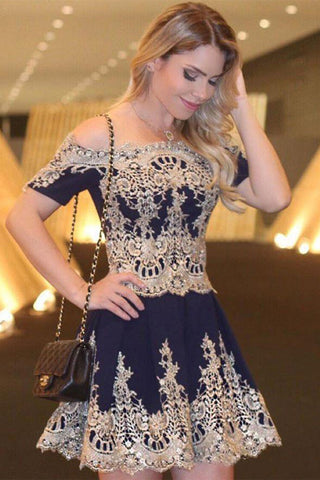 Charming Navy Blue Short Sleeves Mini Length Prom Dress Homecoming Dresses Party Gowns LD408