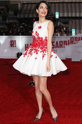 Hot Sales White Satin Red Flowers Mini Length Prom Homecoming Dresses Celebrity Dress LD410