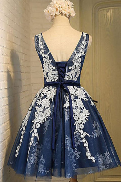 Navy Blue Tulle White Lace Cheap Short Homecoming Dresses Prom Party Dress LD411