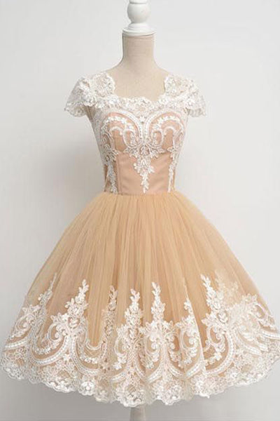 Cap Sleeves Ivory Lace Ball Gown Short Homecoming Dresses Prom Party Dress LD412