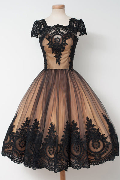 Cap Sleeves Black Lace Ball Gown Short Prom Homecoming Dresses Cute Cocktail Dress LD413