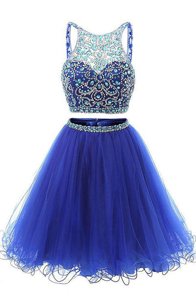 Backless Royal Blue 2 Pieces Rhinestones Short Homecoming Dresses Prom Gowns Cute Dress LD414