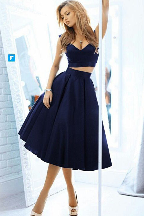 2 Pieces Navy Blue Off the Shoulder Tea Length Homecoming Dresses Prom Dress LD415