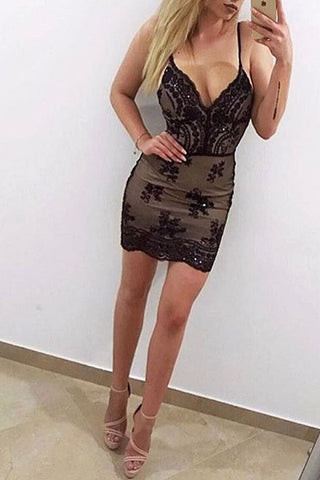 Sexy Spaghetti Straps Black Lace Mermaid Short Prom Homecoming Dress Party Dresses LD418