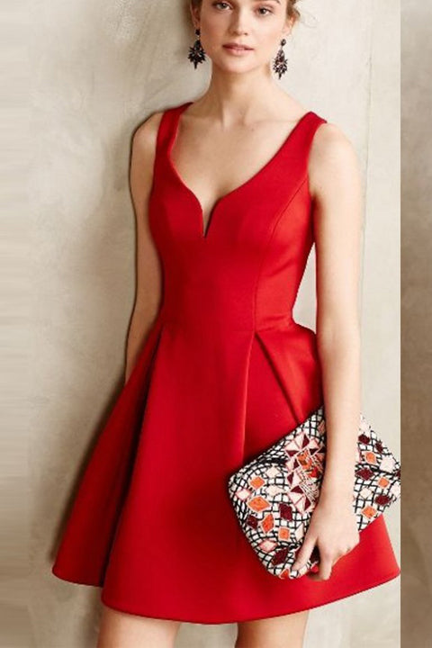 Simple Cheap Red Off the Shoulder Short Prom Homecoming Dress Cocktail Dresses LD419