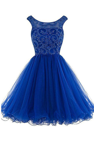 Royal Blue Beaded Open Back Short Homecoming Dresses Prom Gowns Cocktail Dress LD422