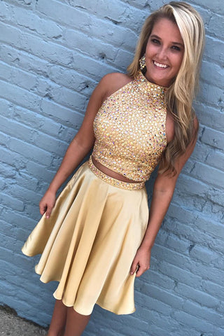 2 Pieces High Neck Beaded Yellow Short Prom Homecoming Dresses Party Dress LD425