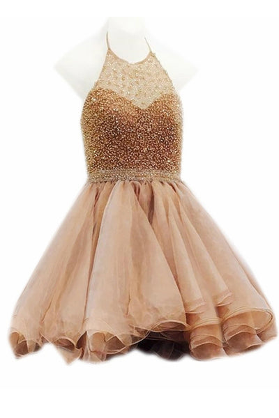 Beaded Halter Gold Ball Gown Short Prom Homecoming Dresses Party Dress LD426