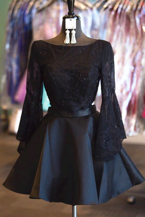 Trumpet Sleeves Black Lace 2 Pieces Backless Short Prom Homecoming Dresses Party Gowns LD427