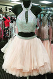 Halter 2 Pieces Crystals Short Prom Cute Dress Homecoming Dresses Party Gowns LD428