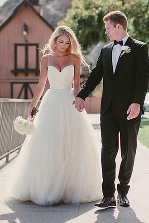 A Line Princess Spaghetti Straps Elegant Cheap Wedding Dresses Bridal Gowns L429
