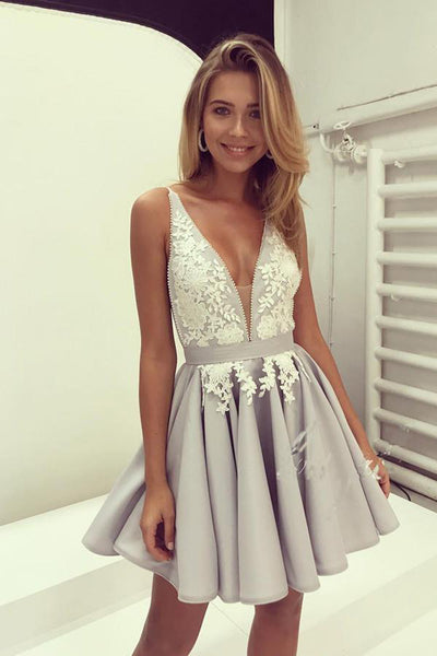 New Arrival V Neck Ivory Lace Silver Satin Short Prom Dresses Homecoming Dress LD430