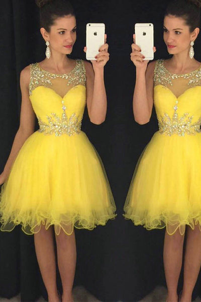 Daffodil Tulle Beaded Off the Shoulder Short Prom Dresses Homecoming Dress Party Gowns LD431