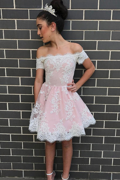 Short Sleeves White Lace Pink Homecoming Dresses Sexy Prom Party Dress LD435