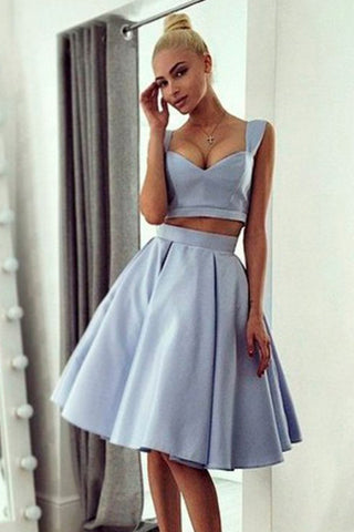 Light Blue Satin 2 Pieces Off the Shoulder Knee Length Prom Homecoming Dresses LD436