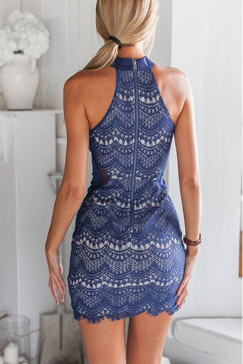 New Arrival Navy Blue Lace High Neck Mermaid Short Prom Homecoming Dresses Party Dress LD437