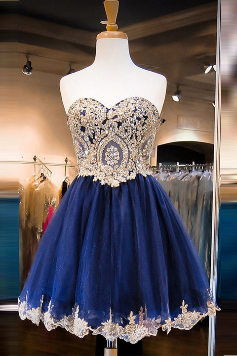 Fashion Gold Lace Navy Blue Short Prom Dresses Homecoming