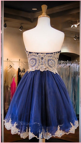 Fashion Gold Lace Navy Blue Short Prom Dresses Homecoming Dress ...