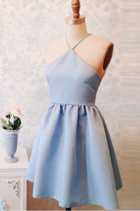 Light Blue Open Back Straps Short Cheap Prom Dresses Homecoming Dress Party Gowns LD439