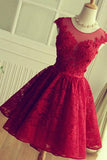 Hot Sales Burgundy Lace Short Homecoming Dresses Prom Dress Party Gowns LD442