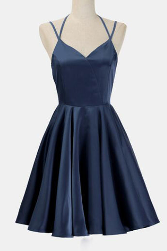 Simple Dark Blue Spaghetti Straps Cheap Short Prom Homecoming Dresses Party Gowns LD443