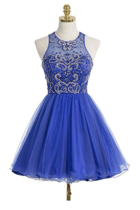 Fashion Halter Back O Royal Blue Short Prom Dress Homecoming Dresses Party Gowns LD445