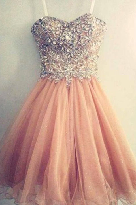 Sweetheart Blush Pink Crystals Cute Short Prom Homecoming Dresses Party Gowns LD447
