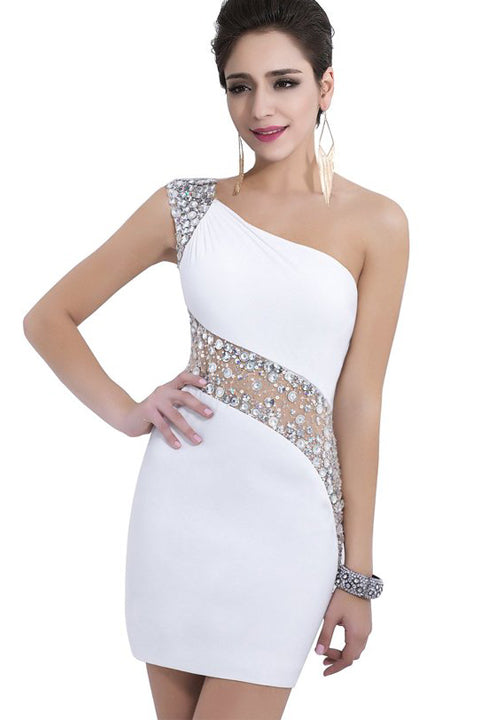 One Shoulder See Through Mermaid Short White Prom Dress Homecoming Dresses LD448
