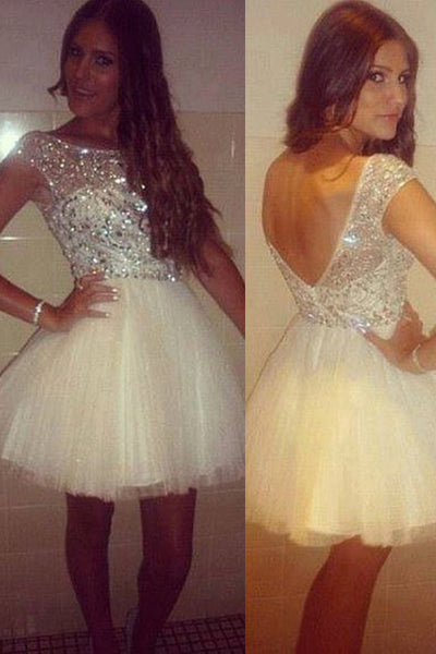 Open Back Cap Sleeves Ivory Crystals Short Prom Dresses Homecoming Dress Party Gowns LD449