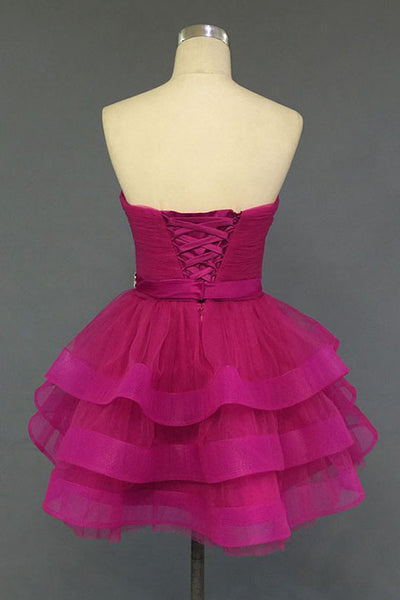 Fashion Sweetheart Tiered Skirt Short Prom Cute Dress Homecoming Dresses Party Gowns LD450
