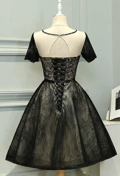 Short Sleeves Black Lace Knee Length Prom Dress Homecoming Dresses Party Gowns LD451