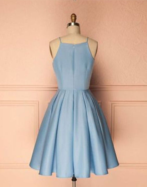 Elegant Straps Light Blue Satin Bodice Short Prom Homecoming Dresses Cocktail Dress LD452
