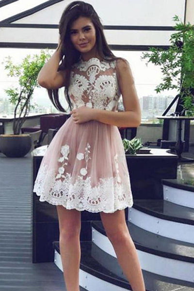 New Arrival White Lace High Neck Short Prom Homecoming Dresses Graduation Dress LD454