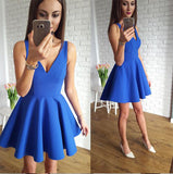 V Neck Off the Shoulder Blue Cheap Short Prom Dress Homecoming Dresses Cocktail Gowns LD455