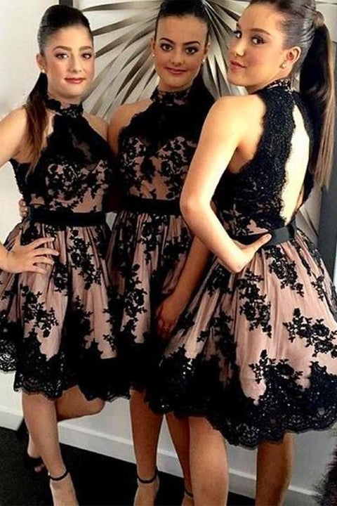 Black Lace Open Back Hater Short Prom Dress Homecoming Dresses Party Gowns LD457