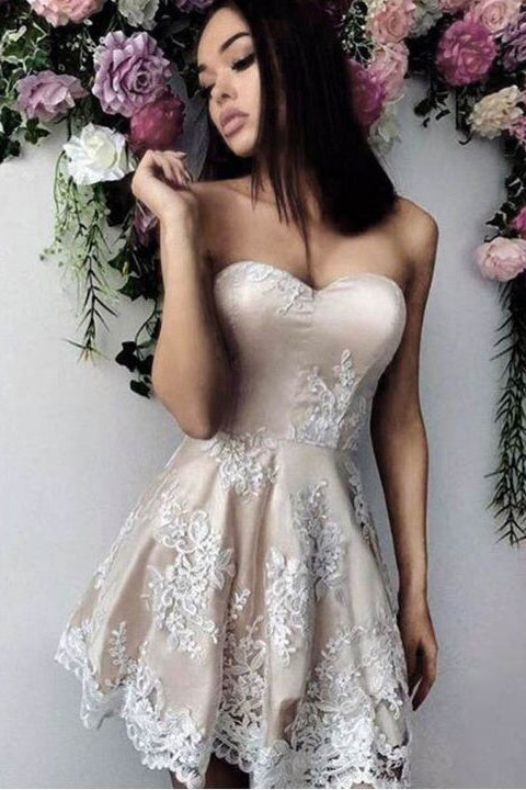 Hot Sales Lace Sweetheart Short Prom Homecoming Dresses Cocktail Dress LD459
