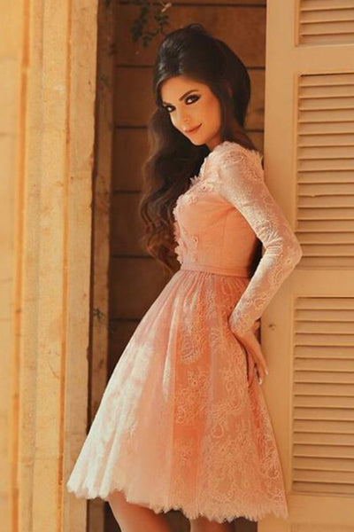 Blush Pink Lace Long Sleeves Knee Length Prom Homecoming Dresses Party Gowns Cute Dress LD465