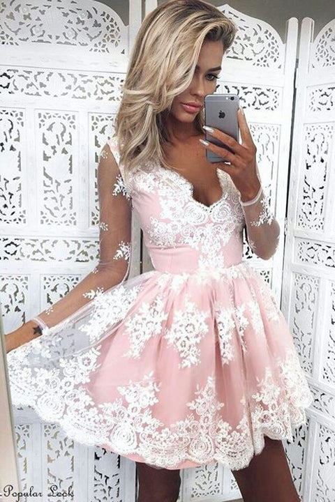 White Lace Pink Short Homecoming Dresses Long Sleeves V Neck Prom Dress Party Gowns LD467