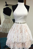 White Lace Halter Backess Tiered Short Prom Dress Homecoming Dresses Party Gowns LD473