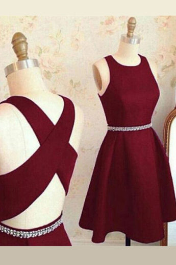 Elegant Burgundy Backless Beads Short Prom Homecoming Dresses Party Gowns Cocktail Dress LD475