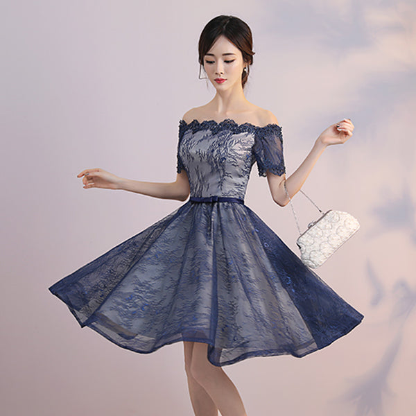 Short Sleeves Dark Blue Lace Knee Length Prom Homecoming Dresses Party Cocktail Dress LD478